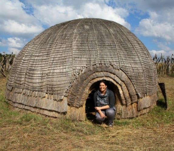 Kate in a Zulu hut